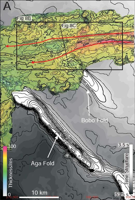 A) An isochron of MTD 3, illustrating its strongly east-to-west component of flow. The Isochron is displayed above the top prekinematic surface to allow the relationship between sedimentation and deformation to be observed. The zones of increased thickness seen in this deposit correlate strongly to the prominent basal scours seen on the B) coherence image. These scours show a change in orientation as they cross the position of the Bobo fold, and this is interpreted to be as a result of subtle fold topography influencing the depositional pathway of MTD 3. C) Seismic profile showing MTD 3 and the cross-sectional geometry of the basal scours shown in Part B.