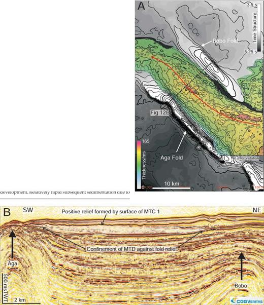 A) Isochron map of MTD 1, showing a strong southeast-to-northwest orientation in deposition due to confinement of this deposit against the backlimb of the Aga fold and the forelimb of the reactivated Bobo fold. B) A seismic line which further illustrates the confined nature of this MTD deposit. Note the location of the overlying channel–levee system (CLS 1), the axis of which is located between the pinchout of MTD 1 and the axis of uplift of the Bobo fold.