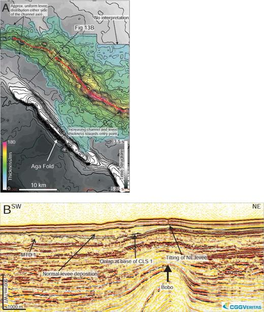 The isochron of CLS 1 showing a uniform levee distribution about the channel axis. The levees and channel fill thicken towards the source direction, indicating that this channel was backfilled during the latest stage of its deposition. B) Reactivation of the Bobo fold has uplifted the northeast channel levee, resulting in a unique levee geometry compared to the southwest channel levee, which is undeformed.
