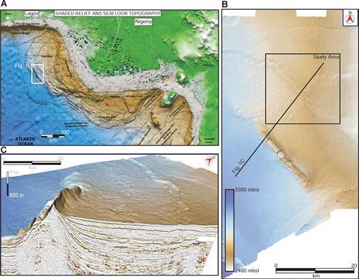 A) Shaded relief of the Niger Delta continental margin, B) zoom showing the location of the study area, and C) 3-D perspective with seismic-reflection profile, showing the location of the A and B thrust folds.