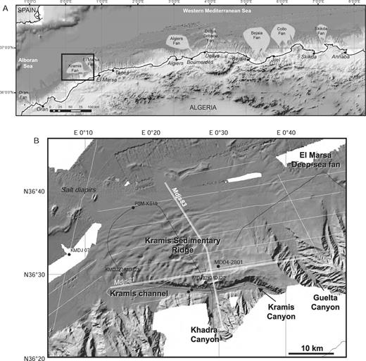 A) General location map of the Algerian margin, showing the main sedimentary deep-sea fans, B) bathymetric map and location of Maradja and Prisme data in the Kramis fan Area (bathymetry, multichannel seismic lines, Chirp echo-sounder profiles, SAR deep-towed side-scan sonar, and piston cores).