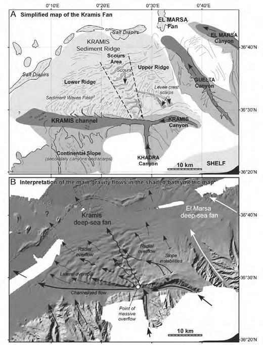 Interpretation in terms of turbidity flows and direction over the Kramis fan, including A) the simplified morphological map of the fan and B) the interpretation of the main gravity-flow direction based on a shaded bathymetric map.