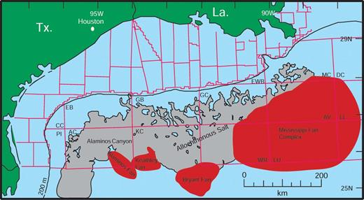 Map of the northern Gulf of Mexico showing boundaries of the protraction areas (red lines) emphasizing the shallow allochthonous salt along the slope (gray), and four major Pleistocene base-of-slope, unconfined submarine fans (west to east): Alaminos Fan, Keathley Fan, Bryant Fan, and Mississippi Fan Complex. After Morton and Weimer (2000).