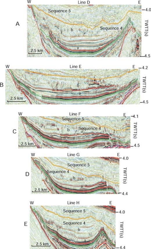 Six updip to downdip seismic profiles across the western portion of the study area. See text for details of interpretation. See Figure 11 for location of profiles