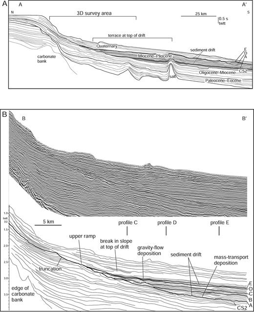 A) Schematic dip-oriented cross section of Cenozoic deposits and older structural elements in the study area. The studied interval is highlighted in gray. Location of profile is given in Figure 1B. B) Dip-oriented seismic reflection profile and line interpretation through the central part of the study area. Note the major erosional unconformity and onlapping deposits which are the focus of this study (Horizons A–E). Location of profile is given in Figure 1C. Data are courtesy EnCana Corp. and TGS-Nopec.