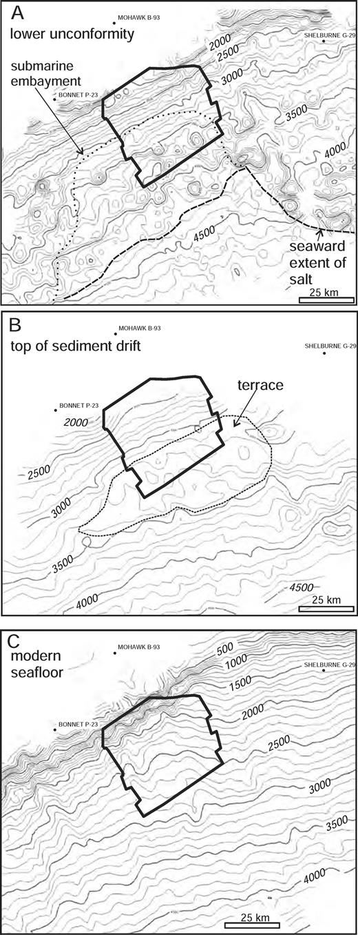 Time structure maps of the regional Late Miocene to recent evolution of the western Scotian margin. A) Time structure of the lower unconformity and the location of the seaward extent of autochthonous salt (from Shimeld, 2004) and a submarine embayment (Modified from Campbell and Mosher, 2010). B) Time structure of the top of the sediment drift. Note the broad terrace. C) Morphology of present seaf-loor (modified from Shaw and Courtney, 2004). Contour interval for all maps is 100 ms (twtt). Data are courtesy TGS-Nopec.