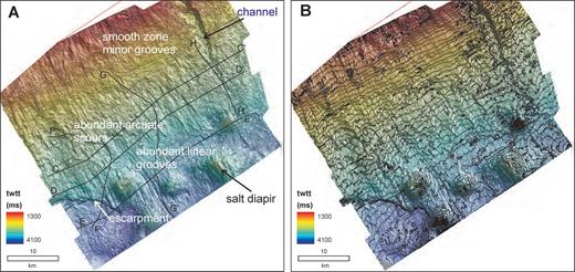 Seismic geomorphology of Horizon CS2, a widespread Miocene erosional unconformity within the study area and described in detail in Campbell and Mosher (2010). A) Shaded relief of the surface showing major morphological elements. B) Time structure contours (50 ms (twtt) contour interval). Data are courtesy of EnCana Corp.