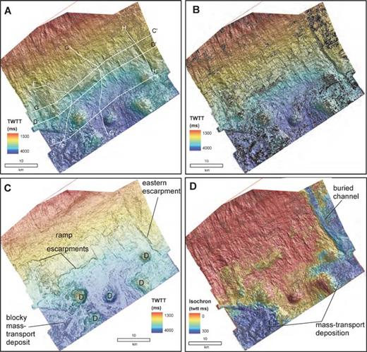 "Seismic geomorphology of Horizon A. A) Shaded-relief map. B) Time structure contours (50 ms (twtt) contour interval). C) Dip of maximum similarity is overlaid on structure in order to highlight the morphology of the large MTD. The tops of salt diapirs are indicated with a ""D"". D) Isochron map of the Horizon CS2-A interval. Data are courtesy of EnCana Corp."