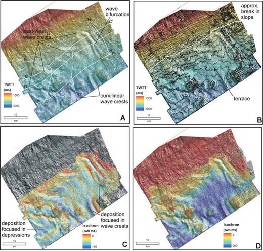 Seismic geomorphology of Horizon D. A) Shaded-relief map. B) Time structure contours (50 ms (twtt) contour interval). C) Isochron map of the Horizon C–D interval. D) Isochron map of the entire sediment drift (Horizon A–D interval). Data are courtesy of EnCana Corp.