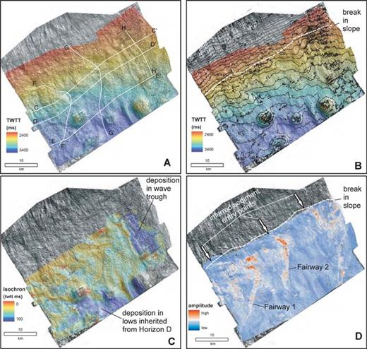Seismic geomorphology of Horizon E. A) Shaded-relief map. B) Time structure contours (50 ms (twtt) contour interval). C) Isochron map of the Horizon D–E interval. D) RMS seismic amplitude of extracted from the Horizon D–E interval. Note the interpretation of depositional fairways and inferred sediment entry points. Data are courtesy of EnCana Corp.