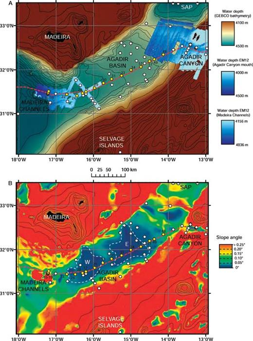 A) Shaded bathymetry map and B) gradient map of the Agadir Basin, based upon GEBCO data. For location see Figure 1. Bathymetric contours are spaced at 100 m intervals on the bathymetry map and at 500 m intervals on the gradient map. Areas with EM12 multibeam bathymetry data coverage are shown on the bathymetry map; these data were collected during research cruise CD166 and cover the Agadir Canyon mouth and eastern Madeira Channels. Core locations are shown by white circles; those used in this study (all CD166 cores) are numbered and shown in yellow (see Figs. 5 and 7). Red dashed line shows gradient profile line used in Figures 2 and 5. Western (W) and eastern (E) sub-basins of Agadir Basin are picked out on the gradient map, and the flat floor of each sub-basin (< 0.02°) is outlined with white dashed line. SAP = Seine Abyssal Plain.