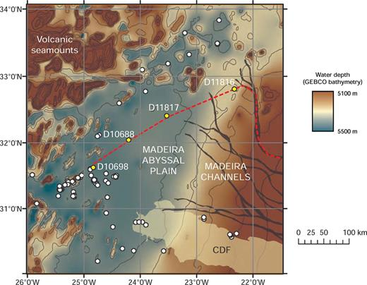 Shaded bathymetry map across the distal Madeira Channels and northeast Madeira Abyssal Plain, based upon GEBCO data. For location see Figure 1. Note that data quality is insufficient to produce a gradient map for this area. Bathymetric contours are spaced at 100 m intervals. Core locations are shown by white circles; those used in this study (Fig. 9) are numbered and shown in yellow. The red dashed line shows the line of the core correlation panel (Fig. 9), and corresponds to the distal portion of the profile line shown in Figure 2. CDF = Canary Debris Flow.