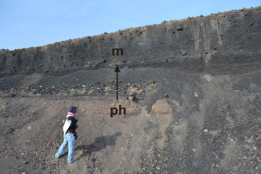 Initial phreatomagmatic layers in a very-small-volume scoria cone in the AD 641 Al Madinah eruption in Saudi Arabia as a sign of initial favourable conditions of external water to influence the intruding magma tip during the onset of the eruption.
