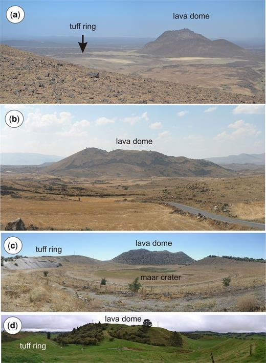 Non-basaltic monogenetic volcanoes: (a) trachytic lava dome (Dabaal Al Shamali) next to a small explosion crater surrounded by a thin tephra ring (Gura 1) from the Harrat Rahat in Saudi Arabia; (b) rhyolitic/rhyodacitic lava dome field near the Erciyes volcano; (c) rhyolitic/rhyodacitic lava dome in a maar/tuff ring of Acigöl in Cappadocia, Turkey; and (d) the 14 kyr-old Puketerata rhyodacitic tuff ring and lava dome.