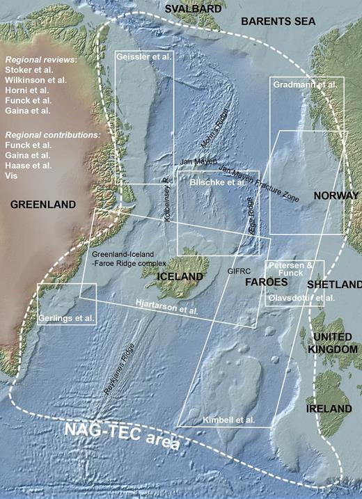 Bathymetric map of the NE Atlantic. The top left-hand column lists the contributions of this Special Publication that deal with regional studies. The white squares on the map locate the local studies.