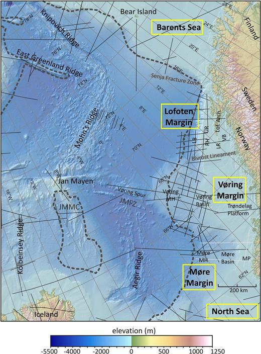 Bathymetry of the mid-Norwegian margin and adjacent Atlantic Ocean. The locations of refraction seismic profiles that entered the NAG–TEC compilation are marked as black lines, and newer profiles as light grey lines. The grey dashed line marks the COB compiled by Funck et al. (2014). Bathymetric data is taken from IBCAO dataset and local compilations (Olesen et al. 2010; Jakobsson et al. 2012); onshore elevation is from ETOPO1 (Amante & Eakins 2009). Lof. Arch., Lofoten Archipelago; LB, Lofoten Basin; RH, Røst High; UR, Utrøst Ridge; LR, Lofoten Ridge; VB, Vesterålen Basin; MH, Marginal High; MP, Møre Platform; JMFZ, Jan Mayen Fracture Zone; JMFZ, Jan Mayen microcontinent.