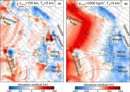 (a) Elevation residual from isostatic calculations using the inversion model of Haase et al. (2016) and a compensation depth of 100 km (Eres = Eobs−Ecalc). A long-wavelength trend from the ridges to the continent can be seen, reflecting the missing thermal effects of the lithospheric mantle below the compensation depth of 100 km. (b) Elevation residual from isostatic calculations using the inversion model of Haase et al. (2016) but assigning constant densities of 3300 kg m−3 to the lithospheric mantle. This can be considered equivalent to assuming isostatic compensation at Moho depth. The prominent long-wavelength residuals that are present between the mid-oceanic ridges and the continent again show the missing thermal effects of the lithosphere. Dashed yellow lines mark the COB, and black lines the location of refraction seismic profiles.
