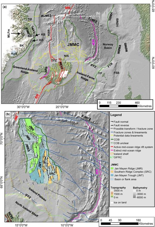 Overview map (a) of the study area with the location of structural elements identified on potential field data. Structural elements map (b) for the JMMC study with mapped faults, fractures zones and lineaments based on this study and modified after Peron-Pinvidic et al. (2012a) and Gernigon et al. (2015) (for label keys, see Table 1). The background image is shaded bathymetry (IBCAO 3.0: Jakobsson et al. 2012; Amante & Eakins 2009).