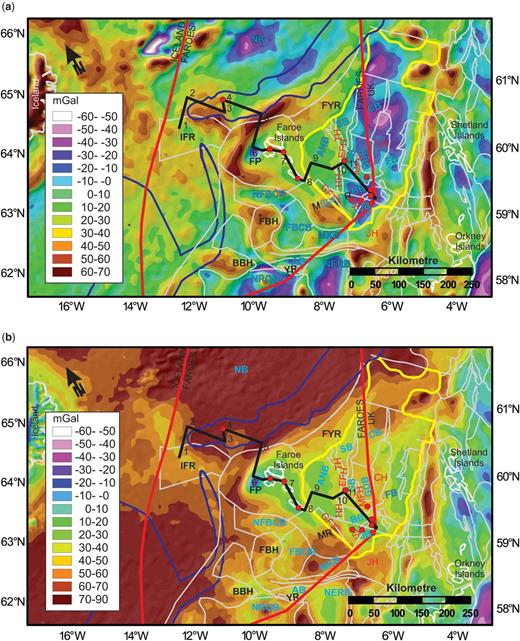 (a) Free-air gravity anomaly map and (b) Bouguer gravity anomaly map covering the Faroese continental margin. The maps also retain – for reference – an outline of the main structural elements (detailed in Fig. 1), together with boreholes and wells, and the shallow crustal transect. See Figure 1a for the key to the abbreviations. Both maps are from Haase & Ebbing (2014).