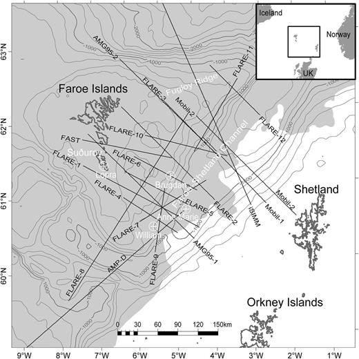 Location of the reviewed seismic refraction lines (see Table 1 for more details). Bathymetry contours (after Hopper & Gaina 2014) are at 200 m intervals. White crosses show the locations of the Lopra, Brugdan, William and Anne Marie wells. The shaded area shows the basalt cover (after á Horni et al. 2014). The inset shows the location of the survey area.