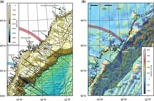 (a) Bathymetric map of the SE Greenland margin near Ammassalik showing the available seismic data along with ODP legs 152 and 163 drill sites 917 and 988, and ODP Leg 163X drill site SEG80B. Thin grey lines indicate older single-channel seismic data from the 1970s; black lines are multichannel seismic data from the 1980s to present. The three DLC97 seismic lines (thick black) discussed in this paper are marked on the map, as is the TGS2012 profile (dashed line). Mid-Cretaceous sediments are exposed in the Kangerlussuaq Basin north of the Ammassalik Basin (e.g. Larsen & Saunders 1998). In addition, possible Cretaceous–Paleocene sediments are found near Kap Gustav Holm (Myers et al. 1993). The Nagssugtoqidian Orogen boundaries are marked as dark blue dashed (south) and red dashed (north) curves. (b) Map of the magnetic anomaly onshore and offshore of SE Greenland (Nasuti & Olesen 2014). The dark shaded areas offshore represent the area where seaward-dipping reflectors are observed. These define the main volcanic cover along the margin (see Horní et al. this volume, in review). Magnetic chrons C20–C24 are marked.