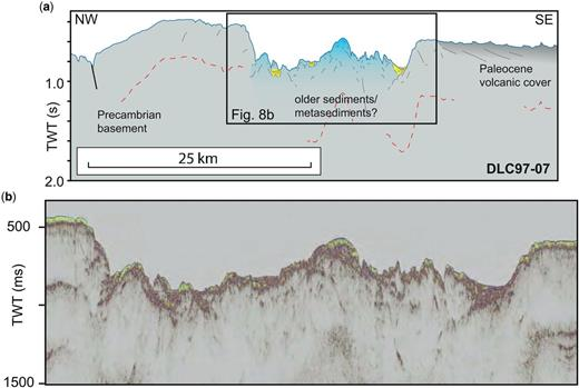 (a) An interpretation of the seismic line DLC97-07. The box indicates a close-up of the seismic data in (b). The most NW part of the line is interpreted to be Precambrian basement with a thin cover of Cenozoic sediments. The most SE part of the line has a more step-like seafloor morphology, possibly indicating a basaltic cover. The legend is shown in Figure 4a. (b) Close-up of the central part of line DLC97-07 that crosses a significant bathymetric depression characterized by a high seafloor relief. The seismic image shows the same kind of high-relief seafloor and chaotic reflectivity as DLC97-08 (blue-shaded area: Fig. 5b). This area is tentatively interpreted to be underlain by a sedimentary basin.