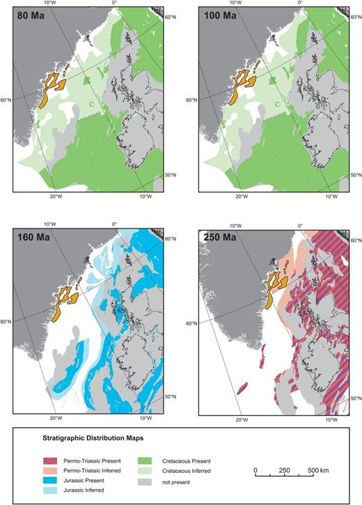 Plate reconstructions of stratigraphic distribution maps from SE Greenland and the European conjugate margins from the Permian–Triassic (250 Ma: red/purple), Jurassic (160 Ma: blue) and Cretaceous (100 and 80 Ma: green). The Ammassalik Basin is outlined in orange.