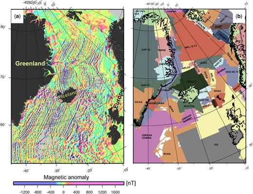 NAG-TEC magnetic anomaly map (this study and Nasuti & Olesen 2014) (a) and location of various local gridded data used in this compilation (b). For a complete list of data sources see the Supplementary material.