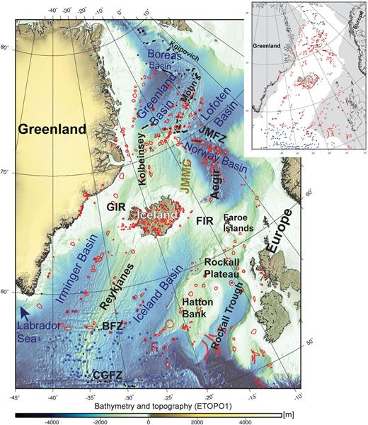 Distribution of volcanic edifices (red, this study; blue, Kim & Wessel 2011; black, Yesson et al. 2011) in the NE Atlantic region superimposed on bathymetry (ETOPO1: Amante & Eakins 2009). Abbreviations are: BFZ, Bight Fracture Zone; CGFZ, Charlie Gibbs Fracture Zone; FIR, Faroe Iceland Ridge; GIR, Greenland Iceland Ridge; JMFZ, Jan Mayen Fracture Zone. Inset to the figure shows the distribution of seamounts on oceanic (white) and continental and extended continental crust (grey).