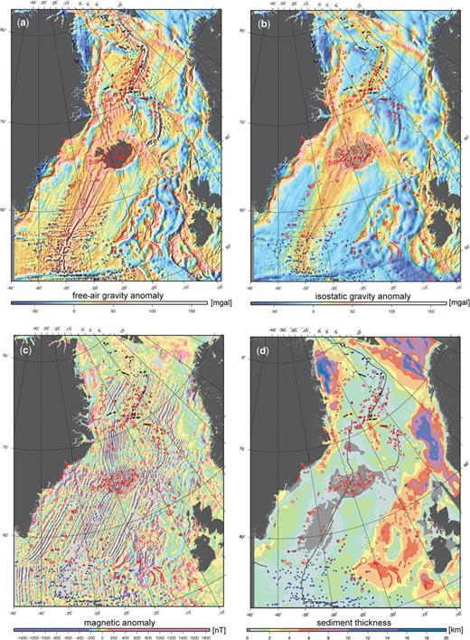 (a) Free-air gravity (DTU10: Andersen 2010); (b) isostatic gravity anomaly (this was computed using the Airy–Heiskanen model, where the compensation is accomplished by variations in thickness of the constant density layers: the root is calculated using the ETOPO1 topography and bathymetry: Haase et al., this volume, in press); (c) magnetic anomaly (Nasuti & Olesen 2014; Gaina et al., this volume, in review); and (d) sediment thickness (Funck et al. 2014). Distribution of volcanic edifices as in Figure 1. Dark grey lines indicate the active and extinct plate boundaries.
