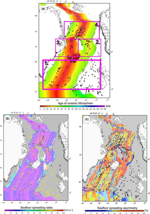 Age grid (a), half spreading rates (b) and asymmetry in seafloor spreading (c) of the NE Atlantic oceanic crust (Gaina et al., this volume. in review). The distribution of volcanic edifices is as in Figure 1. Rectangles indicate the location of the four regions discussed in the text.