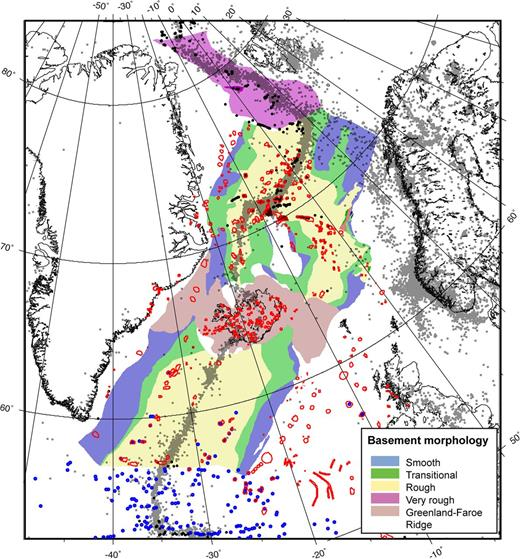Oceanic basement morphology based on seismic characteristics (Funck et al. 2014). The distribution of volcanic edifices is as in Figure 1. Grey dots indicate the location of earthquake epicentres (0.1–6.5 magnitude) from January 1978 to October 2012 according to the International Seismological Centre database (http://www.isc.ac.uk/).