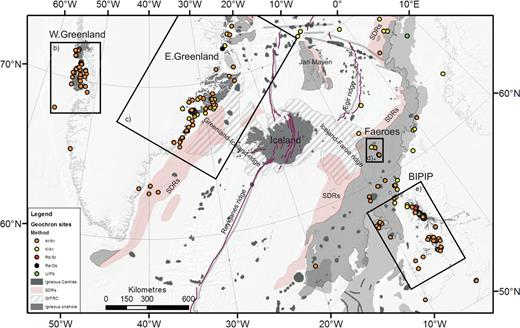 (a) Map of the North Atlantic showing the geographical extent of the North Atlantic Igneous Province (NAIP). Filled circles indicate sampling localities related to geochronological data presented in the unfiltered NAG-TEC Database. Rectangular boxes outline areas shown in Fig. 1(b)–(e). (b) West Greenland; (c) East Greenland; (d) the Faeroe Islands; and (e) the British–Irish Palaeogene Igneous Province (BIPIP). SDRs denote seawards-dipping reflector sequences.