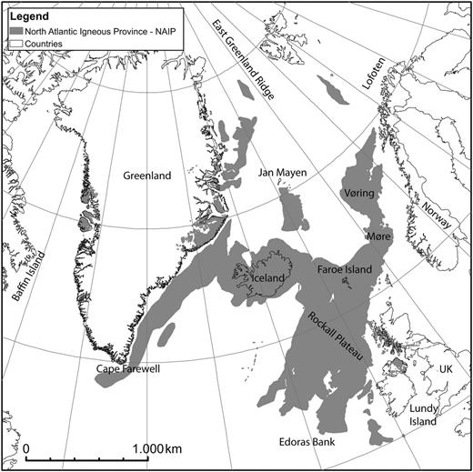 Overview map of the North Atlantic showing the outline of the NAIP based on this work.