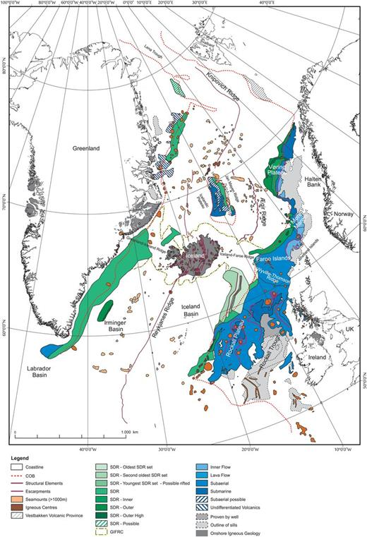 Volcanic facies map of the NAIP. The COB (Funck et al. 2016) is shown as are the main volcanic escarpments.