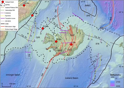 Map showing the distribution of synclines and anticlines observed, based on interpretation from seismic reflection data and onshore geological data of Iceland. Names of synclines and anticlines are given in Table 3. Tracing of plume positions back to 40 Ma relative to Greenland are based on Gaina et al. (2009). Suggested synclines buried below the volcanic zones of Iceland are not shown. See Figure 5 for a cross-section of the seismic reflection profile of a complex rift area, and Figures 7 and 8 for the Vesturdjúp multibeam data and interpretation maps (VR). Bathymetry and elevation map from Hopper et al. (2014). Abbreviations: GIR, Greenland–Iceland Ridge; SJ, Snæfellsnes Jökull; EJ, Eyjafjallajökull; WVZ, Western Volcanic Zone; EVZ, Eastern Volcanic Zone; NVZ, North Volcanic Zone; KR, Kolbeinsey Ridge; JMMC, Jan Mayen microcontinent; ÆR, Ægir Ridge; GG, Gridar Gorge; IFR, Iceland–Faroe Ridge; NV, Njörður volcano; RR, Reykjanes Ridge.