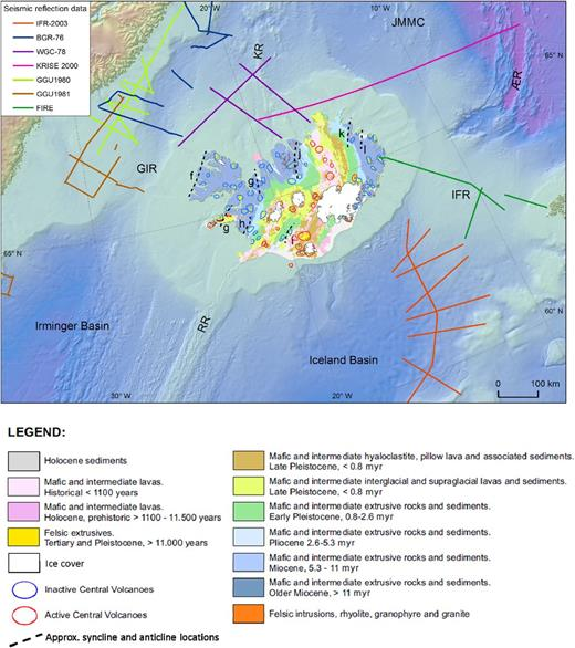 Regional map showing the seismic reflection lines (see Table 2) and the geological map of Iceland (Hjartarson & Sæmundsson 2014). Black dotted lines indicate the onshore syncline and anticline from Jóhannesson & Sæmundsson 2009 (see Table 4).