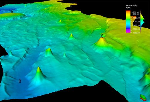 3D view of the Vesturdjúp multibeam data. Cone-shaped seamounts, faults and graben structures can clearly be seen in the foreground. Part of two table mountains may be seen in the distance. The geographical location is shown in Figure 2.