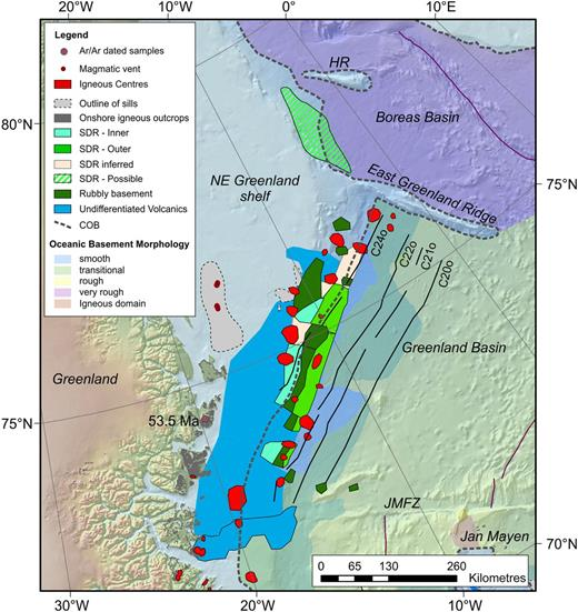 Volcanic facies map of the NE Greenland margin shown together with interpreted magnetic lineations from Gaina et al. (2009) and dated magmatic outcrops (Ganerød et al. 2014). The volcanic facies for Jan Mayen is taken from á Horni et al. (2014). The facies 'SDR inferred' marks areas where we do not have clear seismic evidence for the existence of SDRs. The dashed grey line marks the position of the continent–ocean boundary (COB) (Funck et al. 2014). HR, Hovgard Ridge; JMFZ, Jan Mayen Fracture Zone; SDR, seawards-dipping reflection.