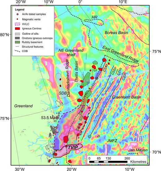 Magnetic map of the NE Greenland margin (Nasuti & Olesen 2014) shown together with the magnetic lineations of Gaina et al. (2009) and dated magmatic outcrops (Ganerød et al. 2014). Selected volcanic facies types (rubbly basement, igneous centres, magmatic sills and vents) are overlain. Black dashed lines indicate the trend of Thetis Basin marginal highs. The continent–ocean boundary (COB) is as in Funck et al. (2014). The extent of the high-velocity lower crust (HVLC) (layer 3B in the oceanic part) as modelled by Voss & Jokat (2007) and the western part of the Traill ø–Vøring Igneous Complex are outlined. HR, Hovgard Ridge; JMFZ, Jan Mayen Fracture Zone; SDB, southern Danmarkshavn Basin; SDR, seawards-dipping reflections; TVIP, Traill ø–Vøring Igneous Complex.