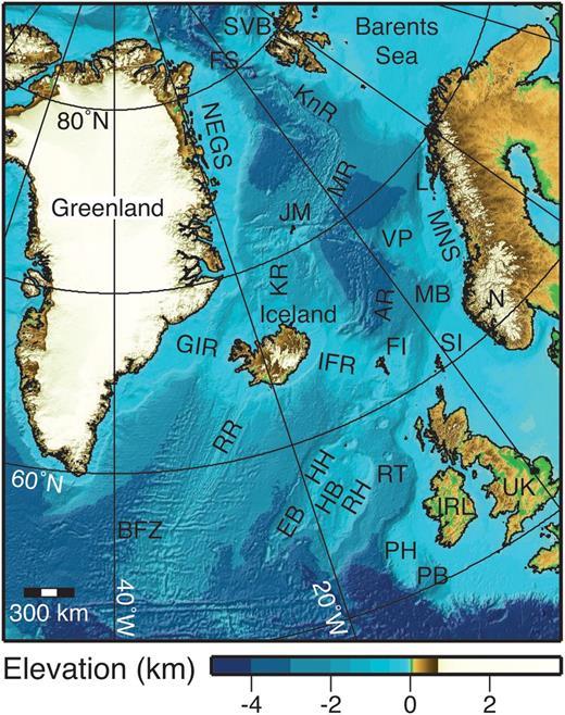 Physiographical map of the NE Atlantic Ocean using the ETOPO1 Global Relief Model (Amante & Eakins 2009). Abbreviations: BFZ, Bight Fracture Zone; EB, Edoras Bank; FI, Faroe Islands; FS, Fram Strait; GIR, Greenland–Iceland Ridge; HB, Hatton Basin; HH, Hatton High; IFR, Iceland–Faroe Ridge; JM, Jan Mayen; KnR, Knipovich Ridge; KR, Kolbeinsey Ridge; L, Lofoten; MB, Møre Basin; MNS, Mid-Norway Shelf; MR, Mohns Ridge; N, Norway; NEGS, NE Greenland Shelf; PB, Porcupine Basin; PH, Porcupine High; RH, Rockall High; RR, Reykjanes Ridge; RT, Rockall Trough; SI, Shetland Islands; SVB, Svalbard; VP, Vøring Plateau.