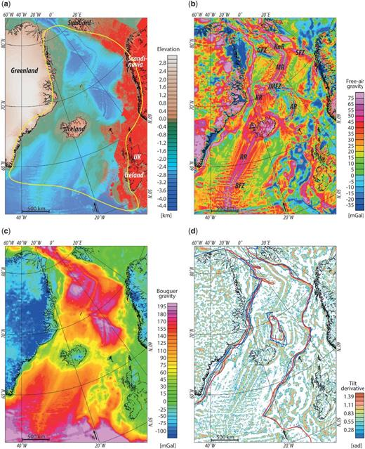 Elevation and gravity maps based on the DTU10 global gravity field model (Andersen 2010; Andersen et al. 2010). (a) Bathymetry and coverage with airborne, seaborne and terrestrial gravity data (red dots and lines). The yellow polygon outlines the study area. (b) Free-air anomaly. (c) Bouguer gravity anomaly, including a correction for ice; (d) Tilt derivative of the isostatic anomaly considering an Airy–Heiskanen root, with a reference crustal thickness of 32 km and a density contrast of 400 kg m−3 at the crust–mantle interface. Red lines indicate the interpretation of the continent-ocean boundary (COB) after Funck et al. (2014); blue lines show COB interpretations after Escher & Pulvertaft (1995), Breivik et al. (1999), Scott (2000), Mosar et al. (2002a, b), Sigmond (2002), Hamann et al. (2005), Kimbell et al. (2005), Tsikalas et al. (2005), Gaina et al. (2009), Voss et al. (2009) and Peron-Pinvidic et al. (2012). BFZ, Bight Fracture Zone; AR, Aegir Ridge; GFZ, Greenland Fracture Zone; JMFZ, Jan Mayen Fracture Zone; KnR, Knipovich Ridge; MR, Mohns Ridge; RR, Reykjanes Ridge; SFZ, Senja Fracture Zone.