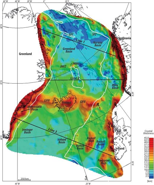 Crustal thickness based on the structural gravity inversion. The white lines show the interpretation of the COB after Funck et al. (2014) and the black lines mark the locations of the 2D cross-sections shown in Figure 6. DB, Danmarkshavn Basin; GIFR, Greenland–Iceland–Faroe Ridge complex; GFZ, Greenland Fracture Zone; JMFZ, Jan Mayen Fracture Zone; SFZ, Senja Fracture Zone; TB, Thetis Basin.
