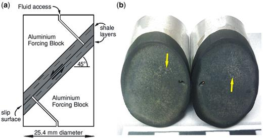 Specimen configuration used. (a) Longitudinal section through a sample configured for downdip flow, parallel to shear direction. Compression direction vertical. (b) Image of two halves of a specimen configured for flow normal to the shear direction. Striated clumps of gouge can just be seen on the slip surface, indicated with arrows. Scale bar in centimetres.