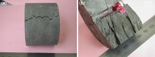 Experimental hydraulic fracture of shale cylinder, 60 mm diameter, with a 7 mm hole drilled down the centre, normal to bedding, to permit fluid injection. (a) Emergence of the hydrofracture onto the cylindrical surface, with short opening-mode fractures linked by bedding-parallel shear segments, which are expected to exhibit reduced conductivity. The hydrofracture is non-planar (b), but displays shear offsets along bedding planes that accommodate the opening fracture segments between the slip planes.