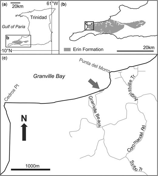 (a) Map of Trinidad showing the SW peninsula of the island. (b) SW peninsula of Trinidad showing the Granville Bay location. (c) Map of Granville Bay showing the location of the outcrop studied.