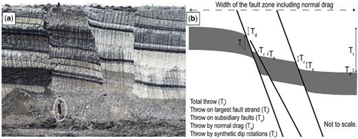 (a) Outcrop photograph of a fault zone in the Kardia mine showing that the total throw (c. 13 m) is accommodated by several fault strands and by continuous deformation within and adjacent to the fault zone (person circled for scale). (b) Schematic diagram showing the partitioning of total throw (Tt) into discontinuous throw, comprising the largest fault strand (Tl) and subsidiary synthetic faults (Ts), and continuous throw, comprising synthetic dip rotation (Tr) and normal drag (Td) components.