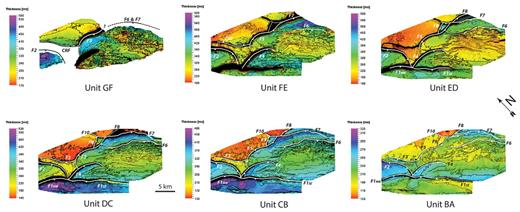 Time–thickness maps showing temporal evolution of major regional faults and a counter regional fault (CRF) in the study area. The dashed lines highlight the inactive segment of the fault, while solid line shows the active segment of fault.