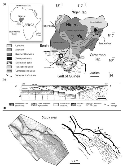 (a) Location and the major onshore geological units (based on Onuoha 1999) of the study area in the western offshore, Niger Delta in Nigeria (offshore gravity-tectonic structural styles and bathymetric contours are based on Damuth 1994). (b) Regional cross-section in the vicinity of the study area showing the regional stratigraphic units and structural framework of the Niger Delta (based on Evamy et al. 1978). (c) Time–structural map of the study area highlighting major bounding listric faults (F1–F10) and their hanging-wall crestal-collapse normal faults.