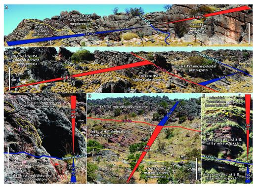 —Outcrop photographs of systems tracts and significant sequence stratigraphic surfaces recorded in margin, slope, and basinal strata. rudstn = rudstone; gnstn = grainstone; pkstn = packstone; wkstn = wackestone. A) Frasnian Composite Sequence 4 (Fr4) TST to HST succession recorded in middle slope setting, along SO transect (Appendix 6). Symmetrical pattern of megabreccia interval bracketed by grain-dominated deposits is observed, representing Early TST grain shedding during aggradation, Late TST margin collapse, backstepping at the MFS, and HST grain shedding. B) Upper portion of Frasnian Composite Sequence 6 (Fr6) and lower portion of Frasnian Composite Sequence 7 (Fr7) recorded in middle slope setting, along SO transect (Appendix 6). Fr6 shows transition from debris-dominated to grain-dominated slopes reflecting slope readjustment subsequent to the supersequence MFS. Abrupt change in grain composition is observed in Fr7, likely related to pre-extinction effects. Fr7 MFS coincides with the Upper Kellwasser isotopic event (UKW). C) Supersequence MFS in margin position with megabreccia deposits abutting fractured in situ reefal facies, along WS transect (Appendix 4). Supersequence MFS coincides with Frasnian Composite Sequence 5 (Fr5) MFS. Fr5 HST megabreccia deposits are younger than collapse events that formed the erosional scarp during the TST of Fr5. D) Upper portion of Fr6 and lower portion of Fr7 recorded in upper-to-middle slope setting, along WS transect (Appendix 4). Debris-dominated to grain-dominated slope deposition can be observed in the Fr6 HST. The TST of Fr7 is marked by an abrupt downslope expansion of the microbial boundstone factory, interpreted to be related to pre-extinction effects. E) Famennian Composite Sequence 2 (Fa2) TST to HST succession recorded in toe-of-slope setting, along CL transect (Appendix 8). Stratigraphic thickness shown is approximately 40 m. Interbedded silt and silty wackestone-packstone dominate the overall succession, with conspicuous debris horizons and boundstone lenses present in the HST.